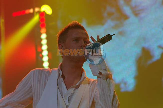 Westlife Irish boy band play at the first of there eight nights in the Point Depot in Dublin. Band Member Nicky Byrne on stage in the Point Depot. 11/4/06.Photo NEWSFILE/Colin BEll..(Photo credit should read Coln Bell/NEWSFILE).