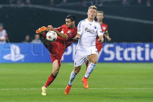 27.08.2014. Leverkusen, Germany. UEFA Champions League qualification match. Bayer Leverkusen versus FC Copenhagen.  Emir Spahic (Leverkusen), Andreas Cornelius  Copenhagen