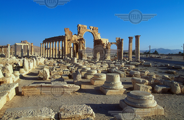 View of the ancient ruins of Palmyra. Palmyra (or Tadmor in Arabic) dates back to the Neolithic period and was first mentioned in the second millennium BC as a caravan stop. It later came under the Seleucid Empire and then under the Roman Empire.<br /> In May 2015 Islamic State (IS) forces fighting the Syrian government of President Assad took control of the modern settlement of Tadmur and the historic site. There are fears that the priceless treasures could fall victim to IS's iconoclastic destruction that has seen museums and ancient sites across Syria and Iraq destroyed.