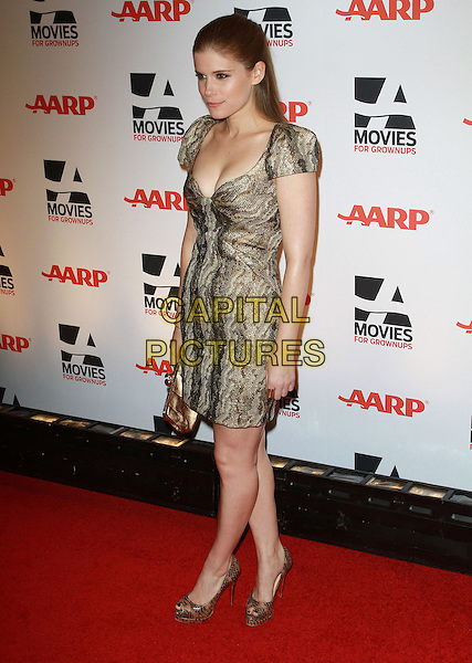KATE MARA .AARP The Magazine's 10th Annual Movies For Grownups Awards held At The Beverly Wilshire Hotel, Hollywood, California, USA..February 7th, 2011.full length dress black beige print snakeskin gold clutch bag shoes .CAP/ADM/KB.©Kevan Brooks/AdMedia/Capital Pictures.