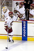 John Muse (BC - 1), Joe Whitney (BC - 15), Pat Mullane (BC - 11), Steven Whitney (BC - 21) - The Boston College Eagles defeated the University of Massachusetts-Amherst Minutemen 2-1 (OT) on Friday, February 26, 2010, at Conte Forum in Chestnut Hill, Massachusetts.