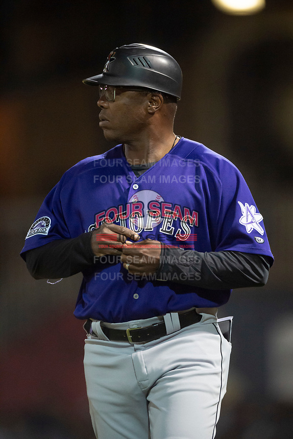Albuquerque Isotopes manager Glenallen Hill (31) during a Pacific Coast League game against the El Paso Chihuahuas at Southwest University Park on May 10, 2019 in El Paso, Texas. Albuquerque defeated El Paso 2-1. (Zachary Lucy/Four Seam Images)