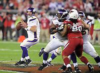 Dec 6, 2009; Glendale, AZ, USA; Minnesota Vikings quarterback (4) Brett Favre throws a pass in the second quarter against the Arizona Cardinals at University of Phoenix Stadium. Mandatory Credit: Mark J. Rebilas-