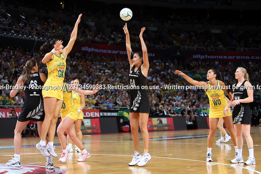 21.10.2012 Silver Ferns Maria Tutaia and Australia's Bianca Chatfield in action during the Silver Ferns v Australia netball test match as part of the Quad Series played in Sydney Australia. Mandatory Photo Credit ©Michael Bradley.
