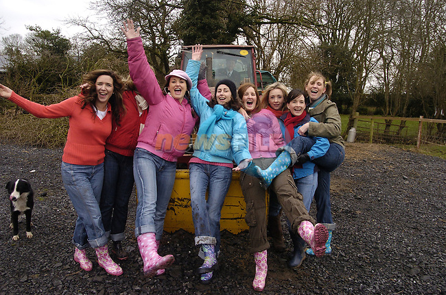 10th February, 2007. Organised hen parties (human ones) run by Deirdre Murtagh at her farm, Causey Farm, Kells, County Meath. Pauline Sharkey (Ardee, County Louth) 4th from left enjoying her hen with her mates on the farm.Photo: BARRY CRONIN/Newsfile.(Photo credit should read BARRY CRONIN/NEWSFILE)