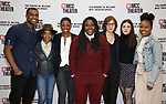 """Joshua Boone, Kara Young, Montego Glover, , C.A. Johnson, Kate Whoriskey, Elise Kibler and Renika Williams attends the rehearsal photo call for the MCC Theater's production of """"All The Natalie Portmans"""" on January 15, 2019 in New York City."""