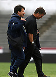 United States head coach Greg Ryan (r) and assistant coach Bret Hall (l) on Sunday, October 8th, 2006 at University of Richmond Stadium in Richmond, Virginia. The United States Women's National Team defeated Iceland 2-1 in a women's international friendly.