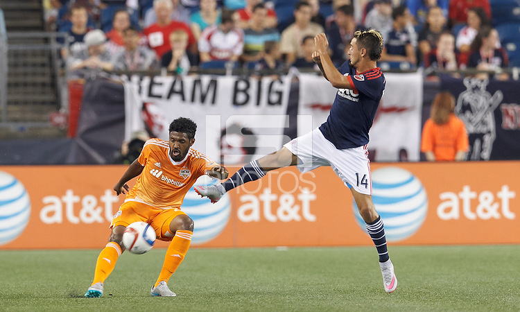 Foxborough, Massachusetts - August 15, 2015: In a Major League Soccer (MLS) match, the New England Revolution (blue/white) defeated Houston Dynamo (orange), 2-0, at Gillette Stadium.