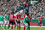13.04.2019, Weser Stadion, Bremen, GER, 1.FBL, Werder Bremen vs SC Freiburg, <br /> <br /> DFL REGULATIONS PROHIBIT ANY USE OF PHOTOGRAPHS AS IMAGE SEQUENCES AND/OR QUASI-VIDEO.<br /> <br />  im Bild<br /> <br /> Alexander Schwolow (SC Freiburg #01)<br /> Claudio Pizarro (Werder Bremen #04)<br /> Theodor Gebre Selassie (Werder Bremen #23)+<br /> Keven Schlotterbeck (SC Freiburg #31)<br /> <br /> Foto © nordphoto / Kokenge