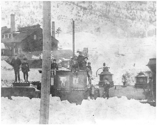 #84 stuck in snow at Ocean Wave Mill north of Lake City.<br /> D&amp;RG  Lake City, CO  ca. 1895