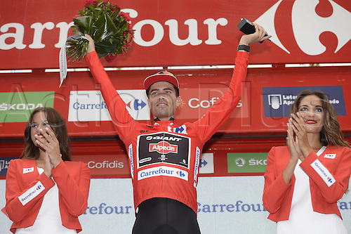 31.08.2015. 2015.  Valencia -to Castellon, Vuelta Espana Cycling tour, stage 10.  Giant - Alpecin 2015, Dumoulin Tom on the stage winners podium in Castellon