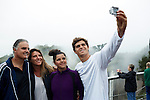 HOWICK, SOUTH AFRICA APRIL 5: Sixteen-year-old swimmer Michael Andrew takes a selfie with his sister Michaela and parents Tina and Peter on April 5, 2015 in Howick, Natal, South Africa. Michael has broken many records already and he is seen as the new Michael Phelps. He turned pro at 14 after signing his first endorsement deal. Peter, his father trains Michael and he grew up in the US. His parents emigrated from South Africa and he spent some time in the country in April 2015 to visit his grandparents. (Photo by: Per-Anders Pettersson)