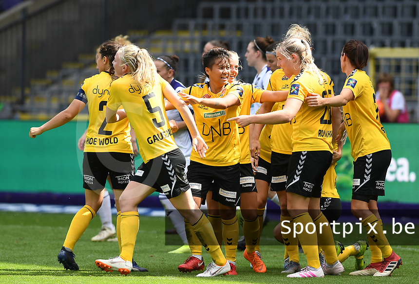 20190810 - ANDERLECHT, BELGIUM : LSK's players pictured celebrating the goal of LSK's Ina Gausdal during the female soccer game between the Belgian RSCA Ladies – Royal Sporting Club Anderlecht Dames  and the Norwegian LSK Kvinner Fotballklubb ladies , the second game for both teams in the Uefa Womens Champions League Qualifying round in group 8 , saturday 10 th August 2019 at the Lotto Park Stadium in Anderlecht  , Belgium  .  PHOTO SPORTPIX.BE for NTB NO | DAVID CATRY