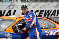 Apr 16, 2009; Avondale, AZ, USA; NASCAR Camping World Series West driver Jason Bowles prior to the Jimmie Johnson Foundation 150 at Phoenix International Raceway. Mandatory Credit: Mark J. Rebilas-