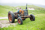 Old tractor on machair grassland, Vatersay Island, Barra, Outer Hebrides, Scotland, UK