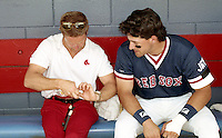 Boston Red Sox trainer Gordie Hurlbert with Phil Plantier during spring training circa 1992 at Chain of Lakes Park in Winter Haven, Florida.  (MJA/Four Seam Images)