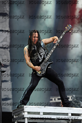 DISTURBED - bassist John Moyer - performing live on Day Three on the Lemmy Stage at Download Festival at Donington Park UK - 12 Jun 2016.  Photo credit: Zaine Lewis/IconicPix