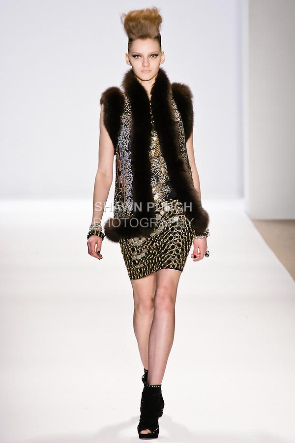 Anya Kazakova walks the runway in a Naeem Khan Fall 2010 outfit, during Mercedes-Benz Fashion Week Fall 2010.