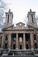 London: St. John, Smith Square, 1714-1728. Thomas Archer, after Sant' Agnese, Rome, 1653-66.