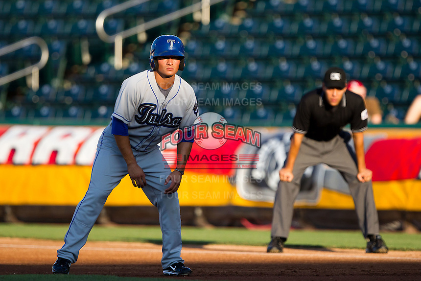 Thomas Field (2) of the Tulsa Drillers takes a lead off of first during a game against the Springfield Cardinals at Hammons Field on July 20, 2011 in Springfield, Missouri. Springfield defeated Tulsa 12-1. (David Welker / Four Seam Images)