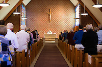 "Father Terry McDonough leads the last service at St. Frances Xavier Cabrini Church in Scituate, Mass., on Sun., May 29, 2016. Members of the congregation have been holding a vigil for more than 11 years after the Archdiocese of Boston ordered the parish closed in 2004. For 4234 days, at least one member of Friends of St. Frances X. Cabrini has been at the church at all times, preventing the closure of the church. May 29, 2016, was the last service held at the church after members finally agreed to leave the building after the US Supreme Court decided not to hear their appeal to earlier an Massachusetts court ruling stating that they must leave. The last service was called a ""transitional mass"" and was the first sanctioned mass performed at the church since the vigil began."