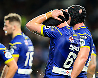 Warrington Wolves' Kevin Brown reacts after his side conceded a third try<br /> <br /> Photographer Alex Dodd/CameraSport<br /> <br /> Betfred Super League Grand Final - Wigan Warriors v Warrington Wolves - Saturday 13th October 2018 - Old Trafford - Manchester<br /> <br /> World Copyright &copy; 2018 CameraSport. All rights reserved. 43 Linden Ave. Countesthorpe. Leicester. England. LE8 5PG - Tel: +44 (0) 116 277 4147 - admin@camerasport.com - www.camerasport.com