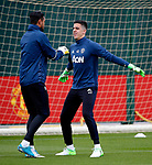 Joel Castro Pereira of Manchester United warms up with Sergio Romero during the Manchester United open training session at the Carrington Training Centre, Manchester. Picture date: May 19th 2017. <br /> Pic credit should read: Matt McNulty/Sportimage
