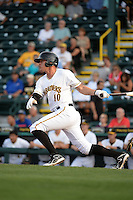 Bradenton Marauders shortstop JaCoby Jones (10) at bat during a game against the St. Lucie Mets on April 11, 2015 at McKechnie Field in Bradenton, Florida.  St. Lucie defeated Bradenton 3-2.  (Mike Janes/Four Seam Images)