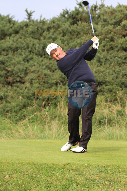 Day 3 of the 100th Irish PGA championship at Seapoint Golf Club, Co Louth..Damien McGrane teeing off in the 14th.Picture Fran Caffrey/www.golffile.ie.