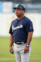 July 23 2008:  Coach Luis Quinones of the Oneonta Tigers, Class-A affiliate of the Detroit Tigers, during a game at Dwyer Stadium in Batavia, NY.  Photo by:  Mike Janes/Four Seam Images