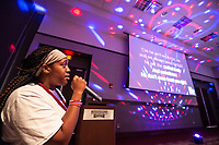 Incoming freshman Chante Foster sings karaoke during a break from their orientation sessions inside the Colvard Student Union.<br />  <br /> (photo by Logan Kirkland / &copy; Mississippi State University)
