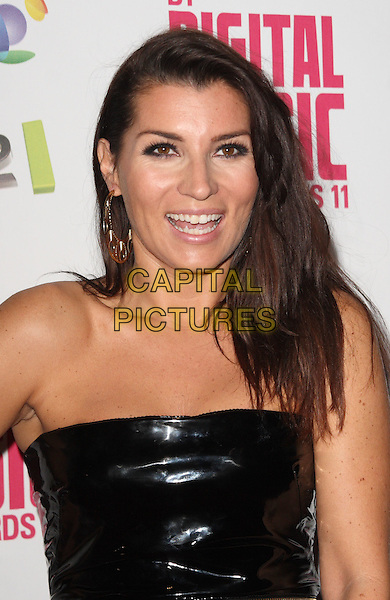 Grace Woodward.BT Digital Music Awards held at the Roundhouse, Chalk Farm, London, England..September 29th 2011.headshot portrait black strapless pvc mouth open smiling .CAP/JIL.©Jill Mayhew/Capital Pictures
