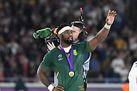 1st November 2019, Yokohama, Japan;  Siya Kolisi of South Africa celebrates with his gold medal during the awards ceremony after the 2019 Rugby World Cup Final match between England and South Africa at the International Stadium Yokohama in Yokohama, Kanagawa, Japan on November 2, 2019.