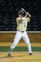 Gavin Sheets (24) of the Wake Forest Demon Deacons at bat against the Davidson Wildcats at David F. Couch Ballpark on February 28, 2017 in Winston-Salem, North Carolina.  The Demon Deacons defeated the Wildcats 13-5.  (Brian Westerholt/Four Seam Images)