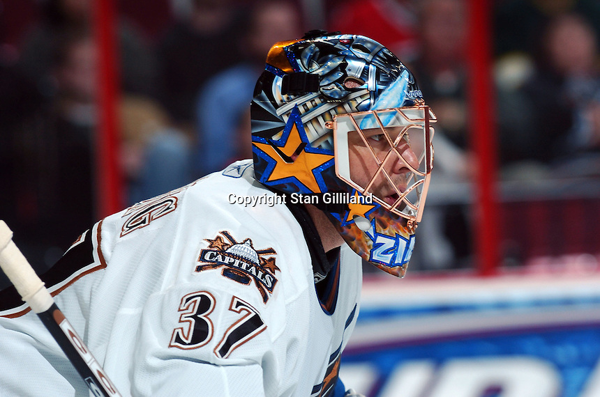 Washington Capitals' goaltender Olaf Kolzig waits for a shot from the Carolina Hurricanes during their game Wednesday, Oct. 12, 2005 in Raleigh, NC. Carolina won 7-2.