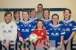 Annauscaul  U/13 Indoor Soccer: Taking part in the Community Games Indoor Soccer Finals at St. Senans Sports Hall, Mountcoal, Listiowel, on Saturday last were the Annauscaul Team. Front: Hannah McCarthy, Niamh Kenny, Rachael O'Connor & Aoife Falvey. Back: Kate Kennedy,Mairead Dineen, Clodagh McKenna & Nel O'Connor and oaach Ray O'Connor
