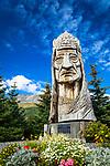"Wooden indian statue, ""Whispering Giants"", Valdez, Southcentral Alaska, Autumn."