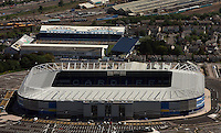 Aerial view of the new Cardiff City Football Club ground (FRONT) and former Ninian Park (TOP)