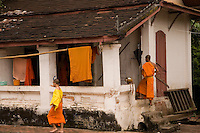 Buddhist monks at living compound in Luang Prabang,Laos