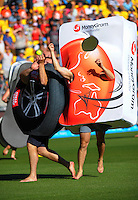 Lunchtime promotional activity during the ICC Cricket World Cup one day pool match between the New Zealand Black Caps and England at Wellington Regional Stadium, Wellington, New Zealand on Friday, 20 February 2015. Photo: Dave Lintott / lintottphoto.co.nz