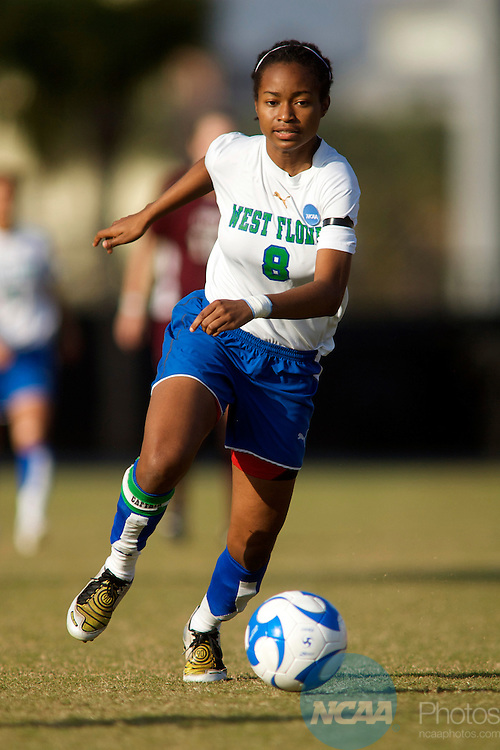 06 DEC 2008:  Dernelle Mascall (8) of the University of West Florida races after the ball during the Division II Women's Soccer Championship held at Pepin/Rood Stadium on the University of Tampa campus in Tampa, FL. Seattle Pacific defeated West Florida 1-0 2OT for the national title.  Chris Livingston/NCAA Photos