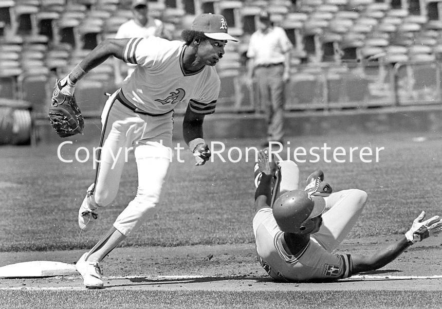 Oakland Athletics first baseman Mike Davis against the Texas Rangers..(1980 photo/Ron Riesterer)