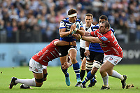 Jackson Willison of Bath Rugby takes on the Gloucester Rugby defence. Gallagher Premiership match, between Bath Rugby and Gloucester Rugby on September 8, 2018 at the Recreation Ground in Bath, England. Photo by: Patrick Khachfe / Onside Images