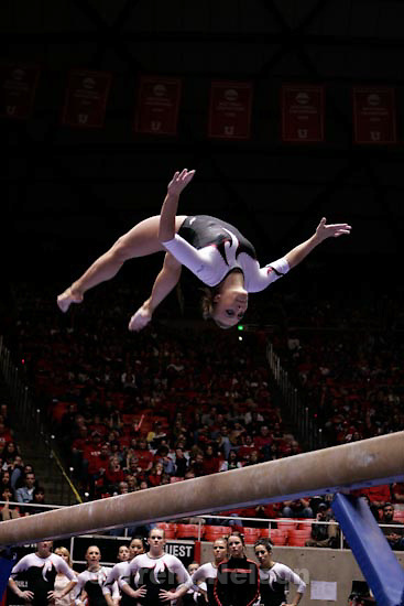 Trent Nelson  |  The Salt Lake Tribune.Salt Lake City - Utah vs. BYU college gymnastics Friday, March 26, 2010. Utah's Jamie Deetscreek on the beam