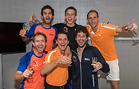The Hague, The Netherlands, September 17, 2017,  Sportcampus , Davis Cup Netherlands - Chech Republic, Fifth match : Dutch team celebrating Ltr: Top Jean-Julien Rojer, Tallon Griekspoor, Thiemo de Bakker, bottom Matwe Middelkoop, captain Paul Haarhuis and Robin Haase<br /> Photo: Tennisimages/Henk Koster