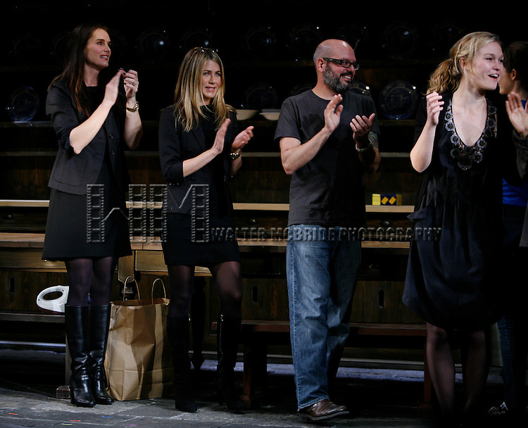 Brooke Shields, Jennifer Aniston & David Cross & Julia Stiles.during the Curtain Call for the 9th Annual Production of The 24 Hour Plays on Broadway at The American Airlines Theatre in New York City..November 9, 2009.© Walter McBride /