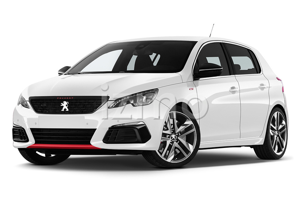 Stock pictures of low aggressive front three quarter view of a 2018 Peugeot 308 GTi Base 5 Door Hatchback