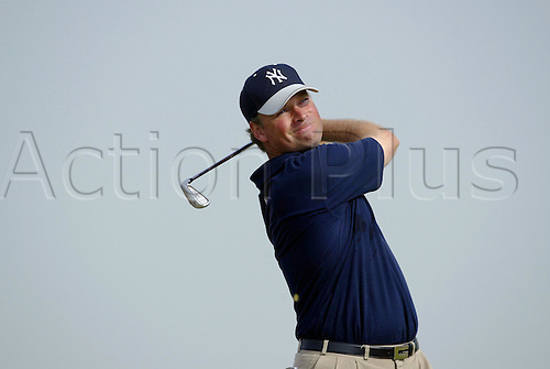 July 16, 2003: MATHIAS GRONBERG (SWE) looks into the distance after playing an iron during practice, The Open Championship, Royal St George's Golf Club Photo: Neil Tingle/Action Plus...British 2003 golf golfer golfers player 030716
