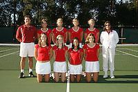 9 November 2006: Women's tennis team photo: Top row: Frankie Brennan Jr., Anne Yelsey, Whitney Deason, Lejla Hodzic, Theresa Logar, Lele Forood. Bottom row: Lindsay Burdette, Megan Doheny, Jessica Nguyen, and Celia Durkin.