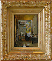 A charming rustic oil sketch by Charles Daubigny in an ornate gilded frame hangs in his former atelier which is now a museum